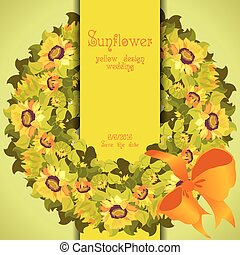 Floral sunflower and leafs circle strip border wedding design.
