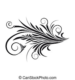 Abstract isolated on white floral swirl