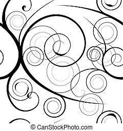 floral swirl background - Black floral swirl white...