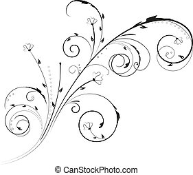 Floral swirl ornament in black color