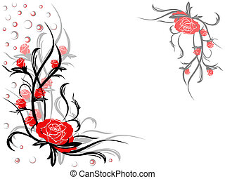 Floral swirl postcard with red roses