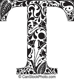 Floral T - Floral initial capital letter T