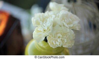 floral, table, décorer, fleurs, artiste