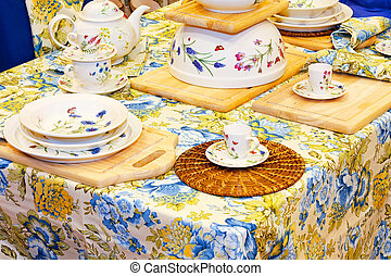 Horizontal view of a floral tabletop detail