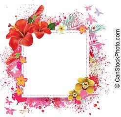floral, tarjeta, con, lugar, para, texto