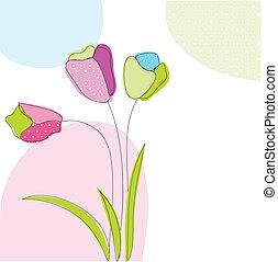 floral, tarjeta de felicitación