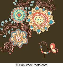 floral, tarjeta, en, colores brillantes