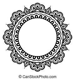 floral, tatouage, indien, henné, modèle