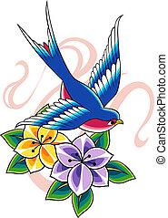 floral, tatuaje, pájaro
