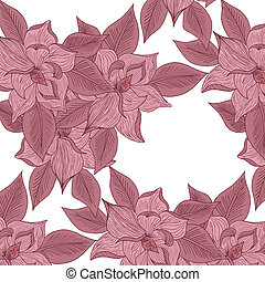 floral, tekening, achtergrond, hand