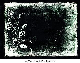 floral, tekst, grunge, achtergrond, ruimte