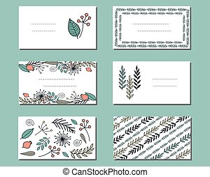 Floral templates with bunches of doodle flowers.