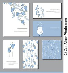 Floral templates with cute bunches of bluebells