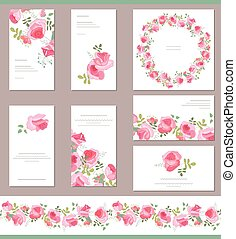 Floral templates with cute bunches of red roses