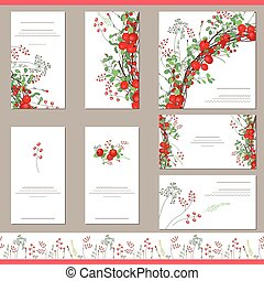 Floral templates with red berries - Floral templates with...