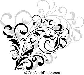 floral tervezés, elem, noha, örvénylik, zöld