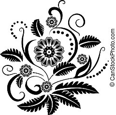 floral tervezés, fehér, fekete, elem