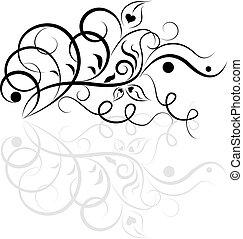 floral tervezés, fehér, fekete, element.