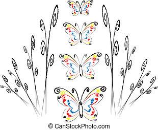 floral tervezés, noha, pillangók