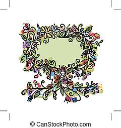 floral, texto, quadro, árvore, seu