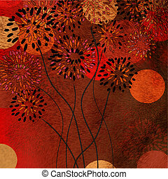 Floral texture background with circles