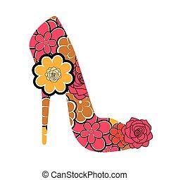 Floral textured high heel shoe