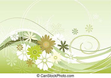 floral, thème, vert
