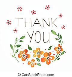 Floral 'Thank you' card