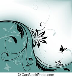 floral, tien, achtergrond