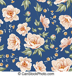 Floral tile pattern for vintage design. Vector illustration.