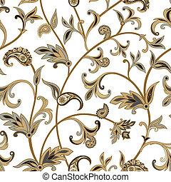 Floral  tiled pattern. Flourish oriental background. Ornament wi