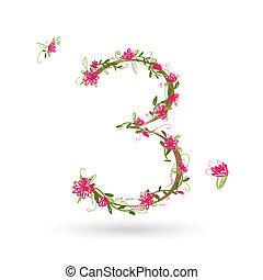 floral, ton, conception, numéro trois