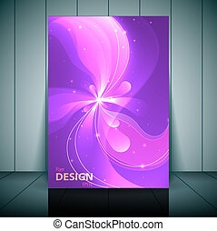 Floral transparent flyer, banner or cover design with colorful abstract design in bright colors and space for your text.