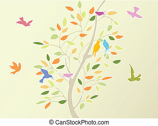 floral tree and birds