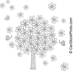 floral tree for coloring book