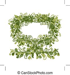 Floral tree green with frame for your text