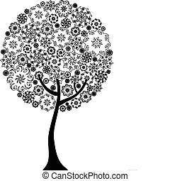 Floral tree outline silhouette vector