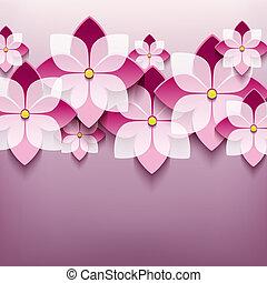 Floral trendy background with 3d flower sakura