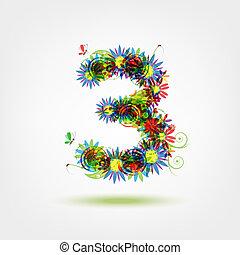 floral, trois, conception, nombre, ton