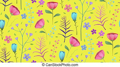 Floral Tropical Bright Flowers on Yellow Seamless Pattern Background