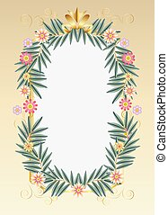 Floral Tropical Eucalyptus and Flowers Decoration frame card...