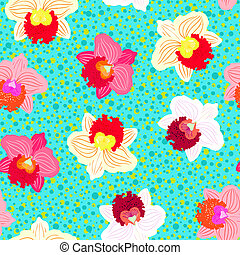 Floral tropical pattern with orchid flowers