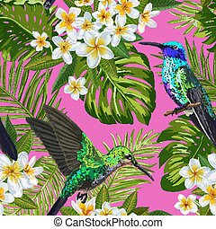 Floral Tropical Seamless Pattern with Exotic Flowers and Humming Bird. Blooming Plumeria Flowers, Birds and Monstera Leaves Background for Fabric, Wallpaper, Textile. Vector illustration