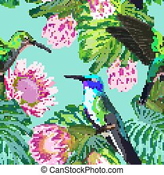 Floral Tropical Seamless Pattern with Exotic Flowers and Humming Bird. Blooming Protea Flowers, Birds and Monstera Leaves Background for Fabric, Wallpaper, Textile. Vector illustration