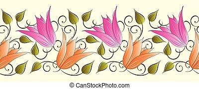 floral, tulipa, borda, seamless