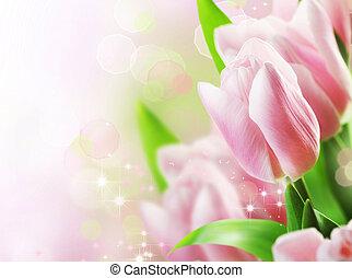floral, tulipes, conception, printemps