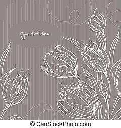 floral, tulips, fundo