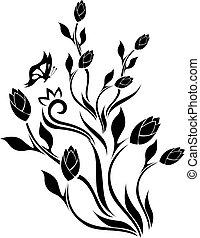 floral, tulp, ontwerp, vlinder