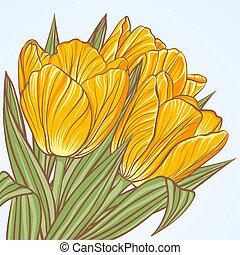 floral, tulpen, bloemen, achtergrond
