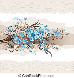 floral, turquesa, cartão cumprimento